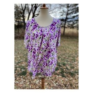 Purple Green Floral Short Sleeve Top Casual 3X